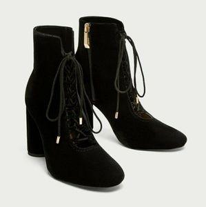 Zara Lace-Up Black Velvet Ankle Boots